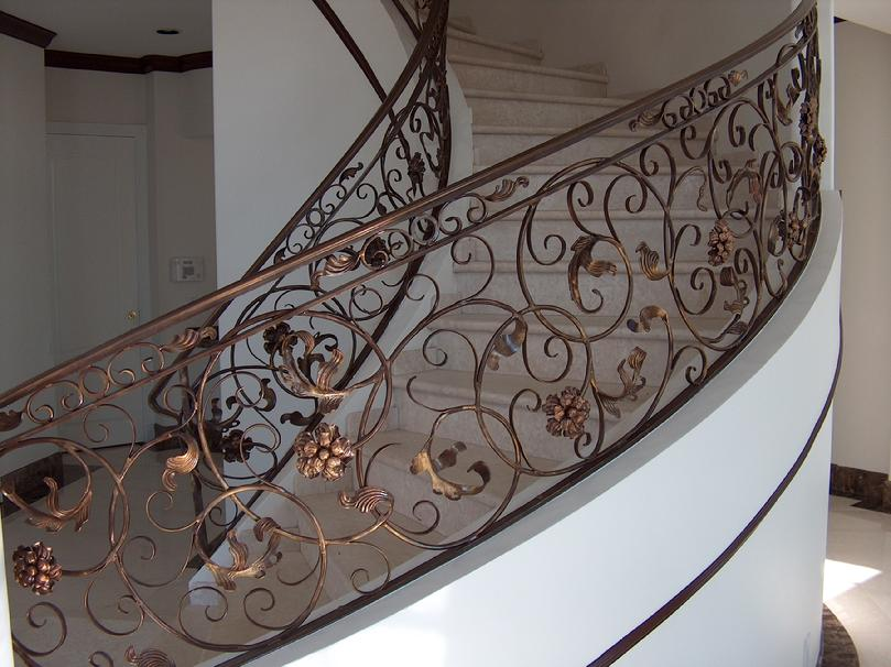 Custom Stair Railing With Bronze Faux Finish And Bronze Cap Rail Milpitas,  CA